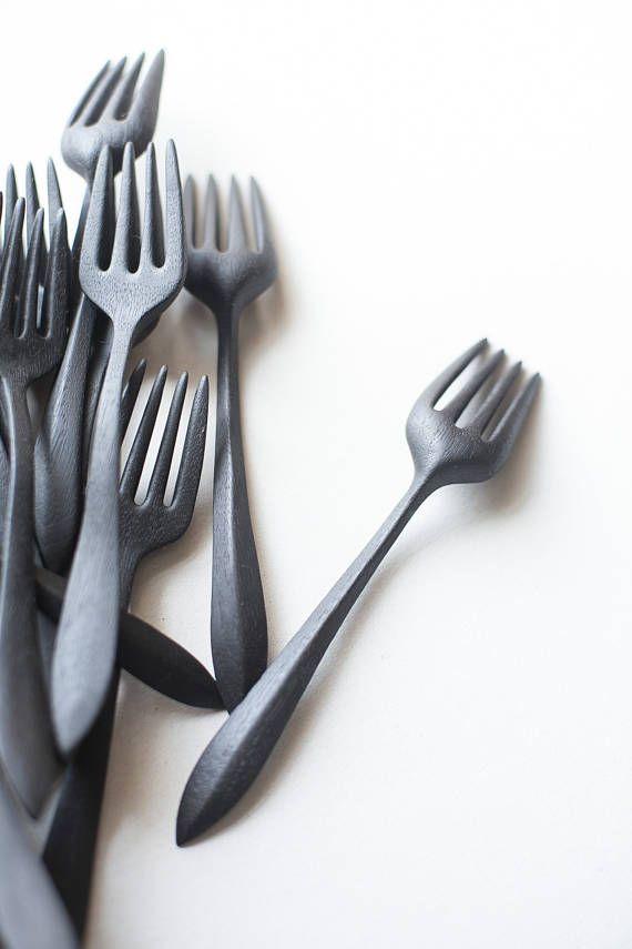 Wide fork for eating Wooden eating fork Rustic fork kitchen
