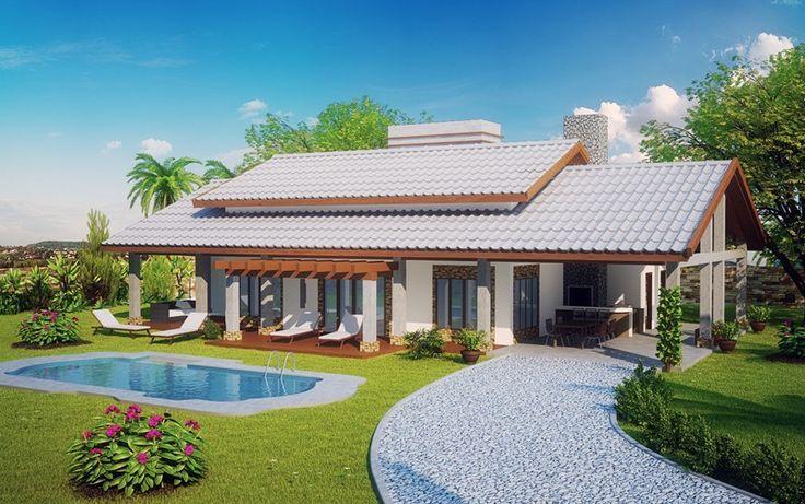 Planta de casa de campo projetada para prestigiar os melhores momentos com sua família, parentes e amigos junto a natureza. Confira as dezenas de modelos de casas.