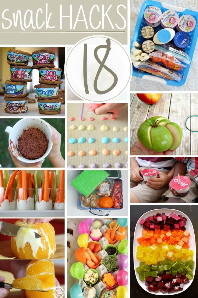 "18 Kid-Friendly Snack Hacks - but actually, they're ""everybody"" snack hacks...#keepitsimple #genius"