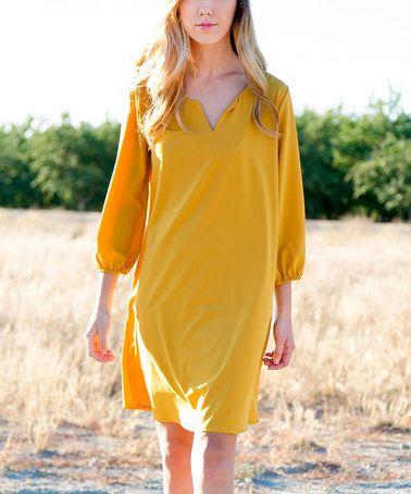 Look at this #zulilyfind! Mustard Martina Notch Neck Dress #zulilyfinds