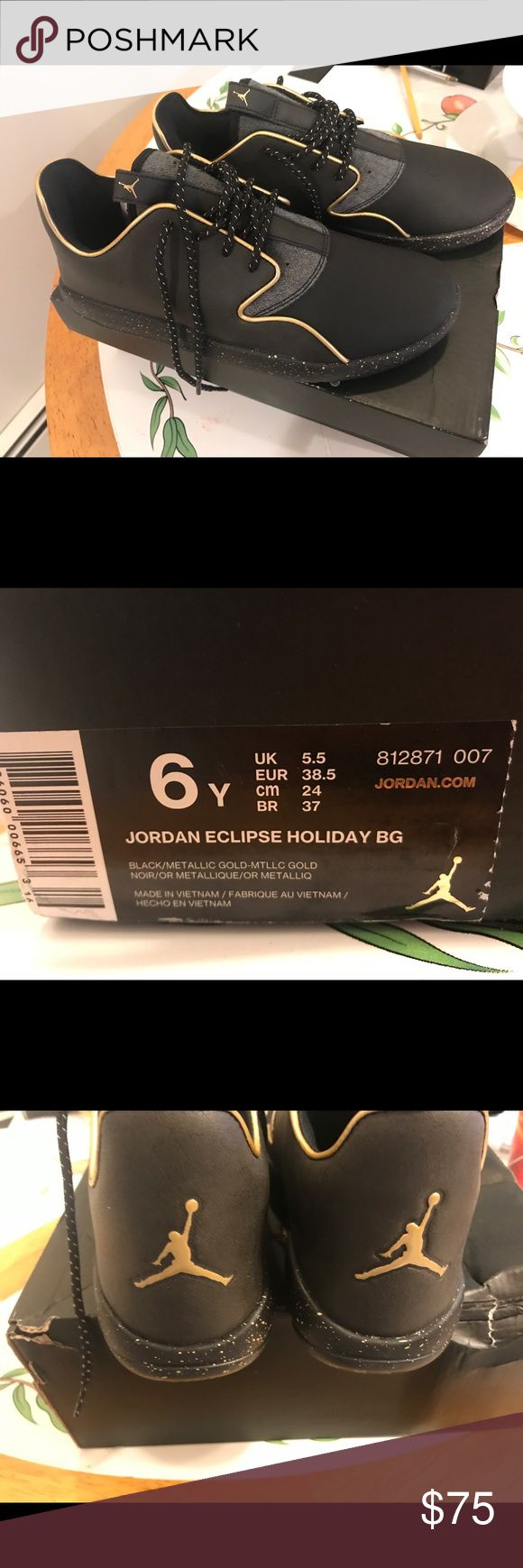 JORDAN ECLIPSE HOLIDAY BG, Size 6youth Black and metallic gold details,NEVER WORN, box included Jordan Shoes Athletic Shoes