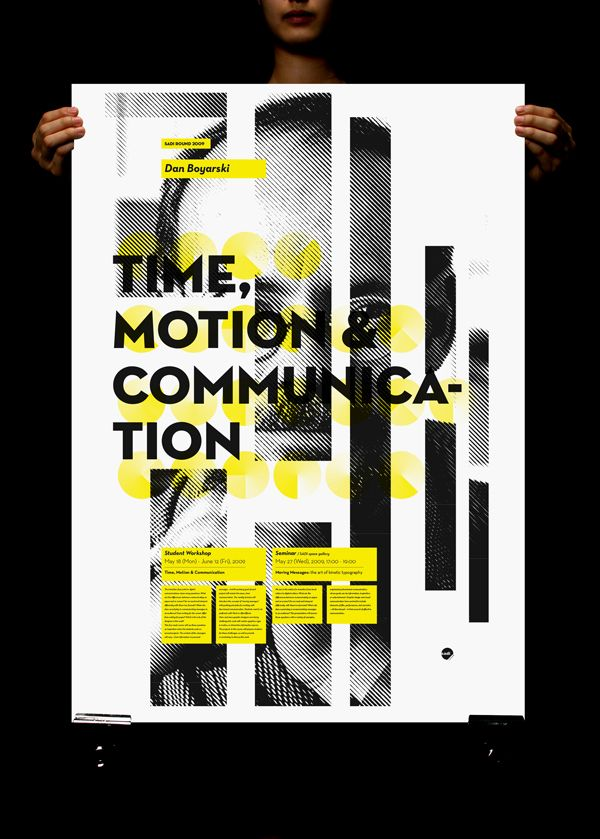 thought these were interesting; you see the constant, static and circular logo appear on very dynamic poster pieces