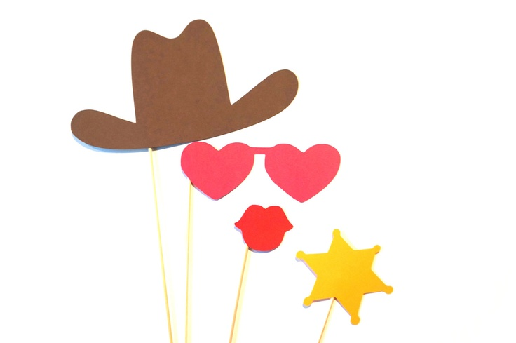Photo Booth Props - Cowgirl Photo Prop Set - 4 piece set - Birthdays, Weddings, Parties - Photobooth Props. $10.00, via Etsy.