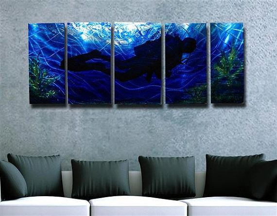 Abstract metal wall art painting scuba diving by hawkartworks 220 00