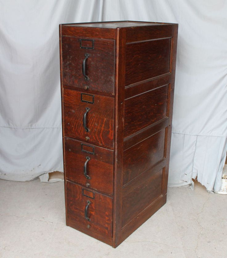 Antique Oak 4 drawer File Filing Cabinet – original finish #Victorian