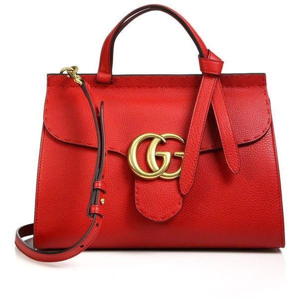 Gucci GG Marmont Leather Top-Handle Bag ❤ liked on Polyvore featuring bags, handbags, leather top handle bag, gucci handbags, red purse, gucci bags and red bag