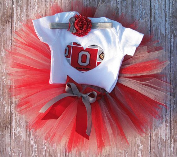 Ohio State Tutu Set and Matching Headband...Red and Grey OSU Buckeye Tutu, Birthday Photo Prop, Baby Shower Gift on Etsy, $37.00