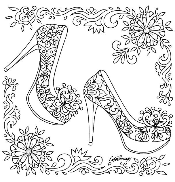 210 best Shoes Coloring Pages for Adults images on Pinterest Adult