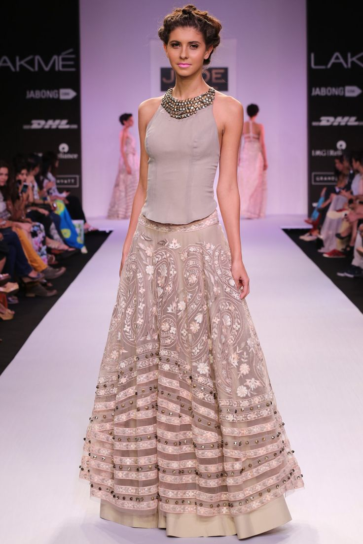 Pink embroidered lehenga with grey top available only at Pernia's Pop-Up Shop