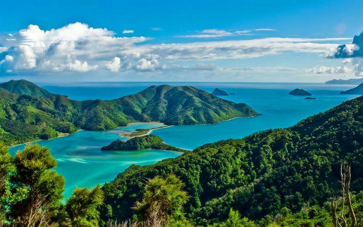 Download wallpapers New Zealand, sea, summer, hills, tropics, Patagonia