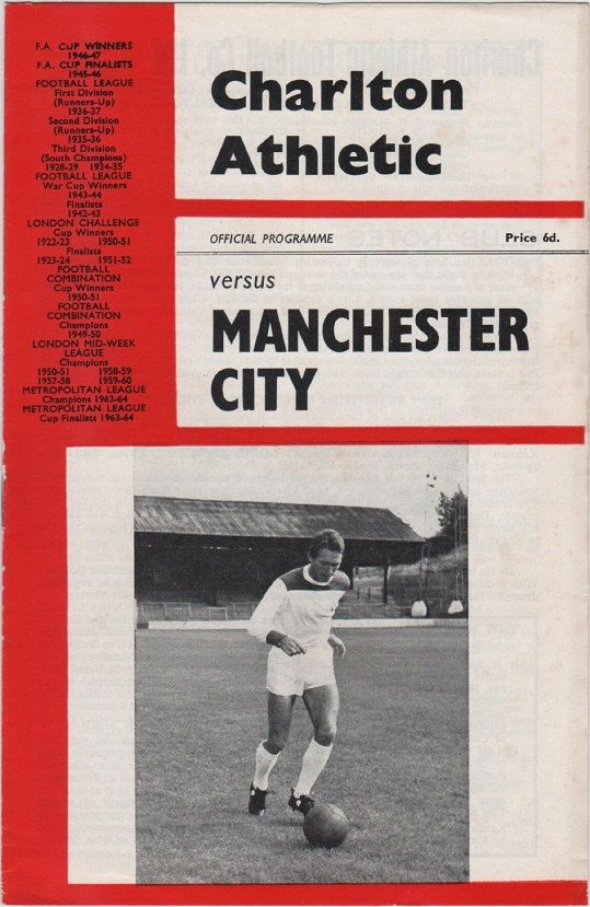 Vintage Football Programme - Charlton Athletic v Manchester City, 1965/66 season.