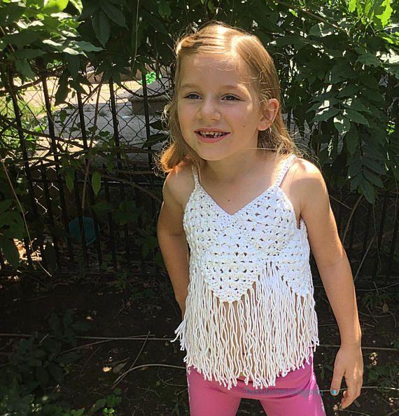 Crochet niñas franja cultivo top de crochet de Verano niñas