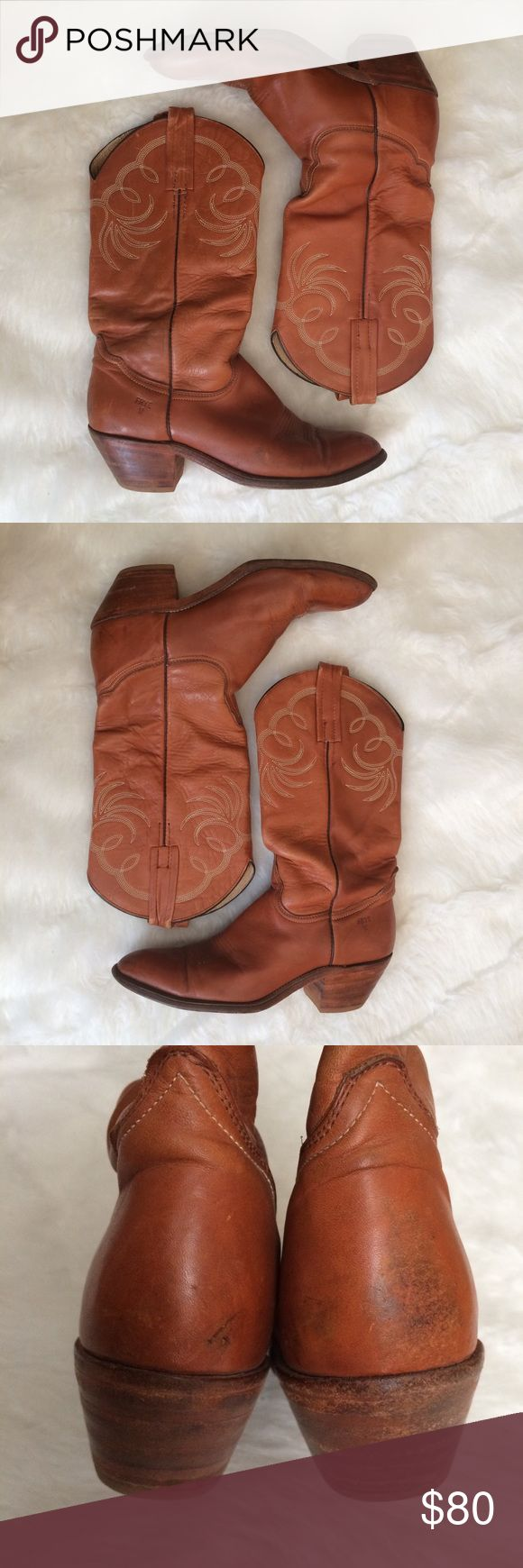 "FRYE Vintage Cowboy Western Riding Boots Size 10.5 Vintage Women's FRYE Cowboy boots. Size 10.5 Stacked heel Heel height (measured from the back of the heel) 2.5"" Boot height (measured from tallest part of upper to bottom of heel) 14.75"" Style# 3205 Very good vintage condition. Scuffs to toes & heels as shown in photos. Frye Shoes Heeled Boots"