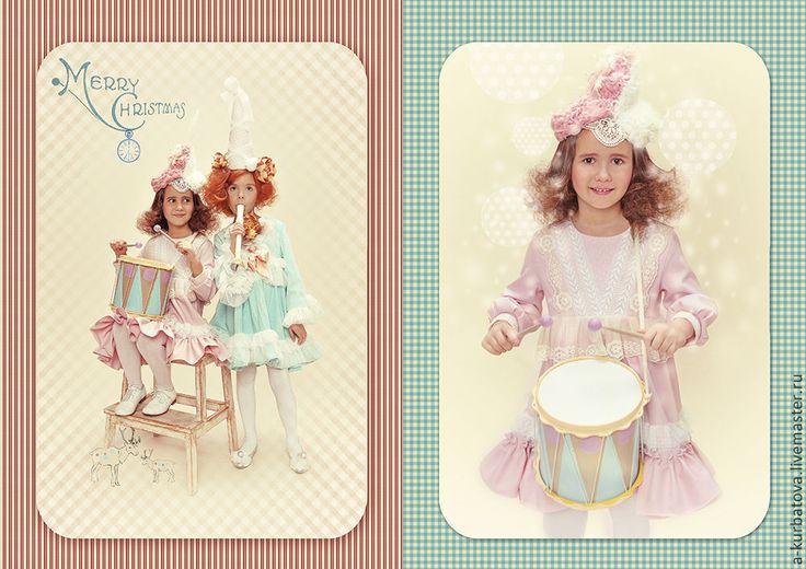 Купить Комплект для девочки - кремовый, винтажный стиль, мех, лен