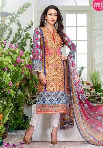 MF 64004 - Multi Color Glazed Cotton Designer Suit