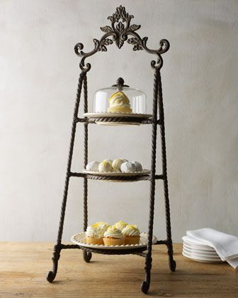 "GG Collection Three-Tier Tidbits Server from Horchow.com.  This is sweet.  Its 32"" tall!  its nice to go vertical on a buffet.  Too bad the plates are small..."