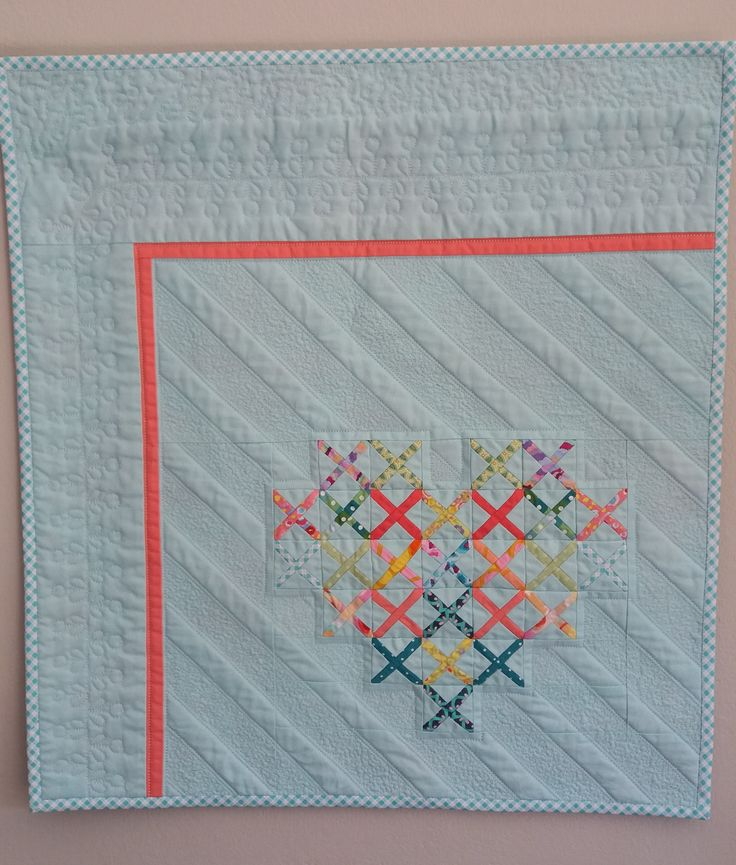 I made this as a birthday gift for my 7 year old daughter - she loves hearts. Seen on pilofabric.com blogpost Cross-Stitch Block Tutorial.