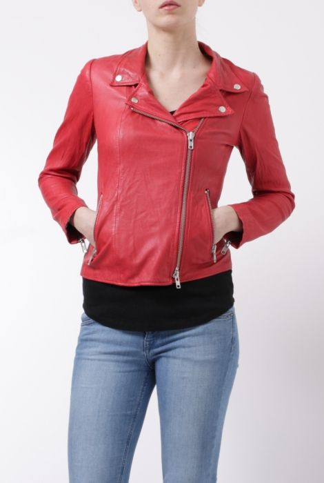 Bully red leather biker jacket chiodo rosso in pelle Bully shop online