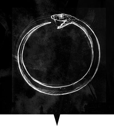The Ouroboros represents the perpetual cyclic renewal of life, the eternal return, and represents the cycle of life, death and rebirth, leading to immortality, as in the phoenix.