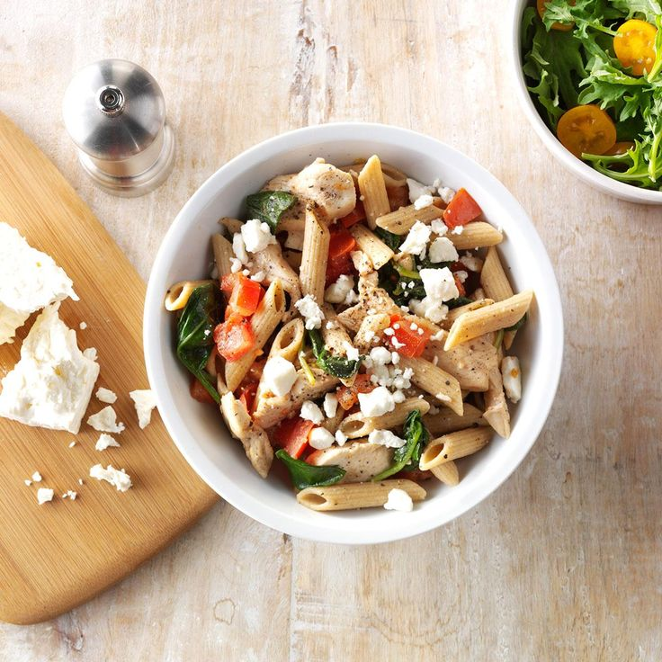 Spinach-Feta Chicken Penne Recipe -I wanted a light sauce for pasta, so I cooked tomatoes with garlic, wine and olive oil. It's a blockbuster combo for seafood, too. —Geralyn Sipos, Blandon, Pennsylvania