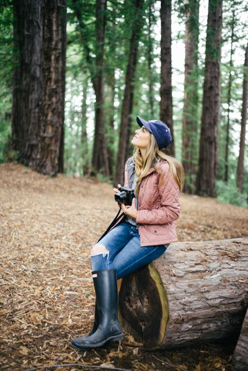 Fall in Big Sur - Barbour Jacket, Current Elliott Tee, Joe's Jeans, Hunter Boots