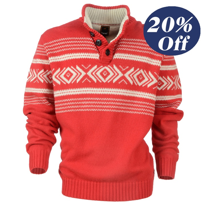 Was $120, now only $96  Men's stand collar and placket knit with placed inca pattern, heavy rib detail and accent colour.