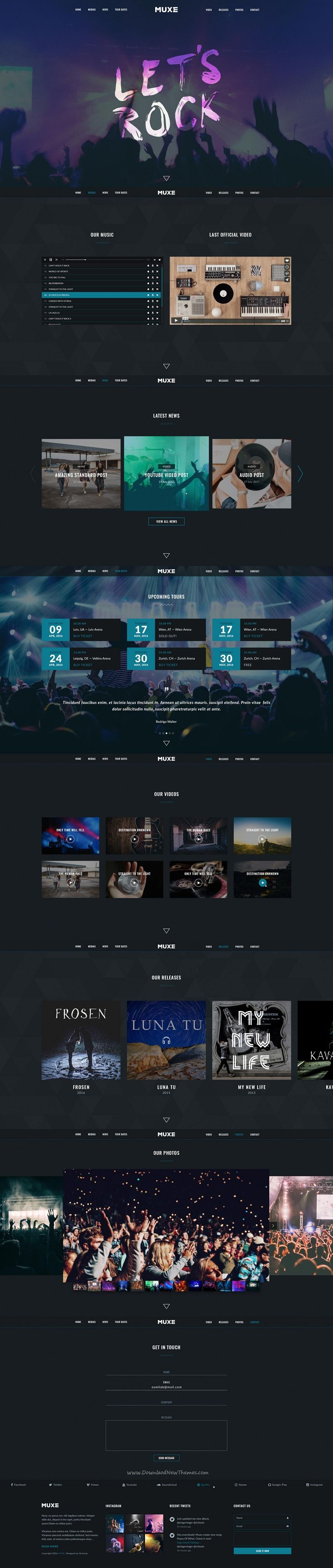 Muxe is a great design premium #PSD template for singers, bands or #musical #websites with 5 homepage and 56+ PSD pages download now➯ https://themeforest.net/item/muxe-media-oriented-musical-psd-template/16966056?ref=Datasata