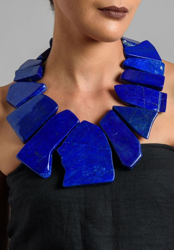 "exercicedestyle: ""  Oversized Lapis Necklace """