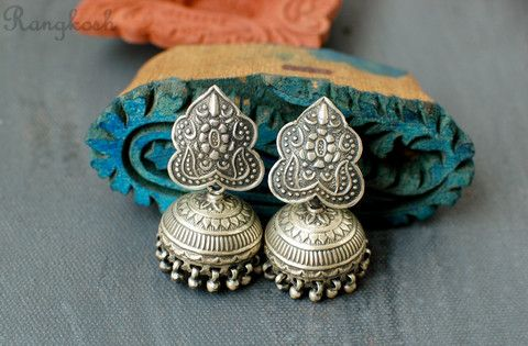 Bhringa Jhumkas - Sterling Silver