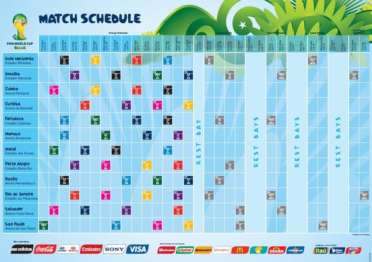 Calendário da Copa 2014