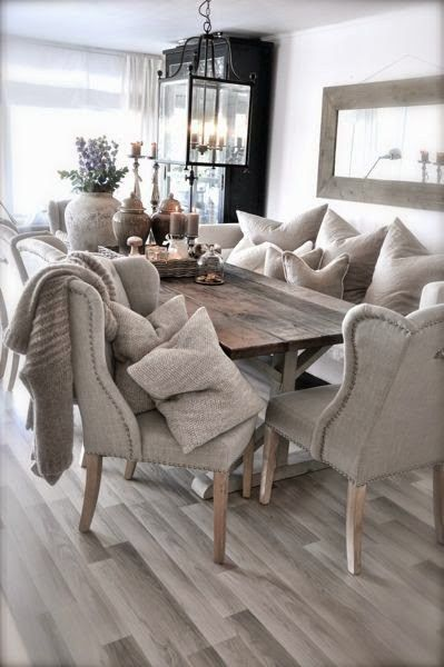 upholstered chairs with rustic table