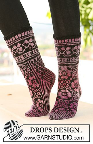 Ravelry: 126-4 Socks with pattern pattern by DROPS design