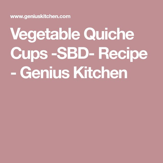 Vegetable Quiche Cups -SBD- Recipe - Genius Kitchen