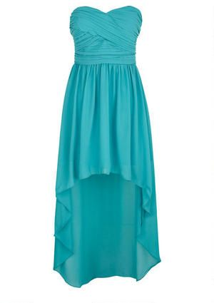 Strapless chiffon dress with pleated bodice. High- low hemline detail and back zipper for better fit. Fully lined.