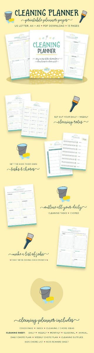 This cleaning schedule and chore planner contain 14 pages to help you stay on top of your household cleaning and chores.  | Cleaning Planner | Cleaning #Schedule | Kids Chores | Cleaning #Checklist | Kids Chores List | #Household #Planner | Cleaning Plan | Cleaning List | #affiliate