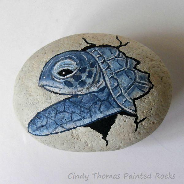 Hatching sea turtle painted rock