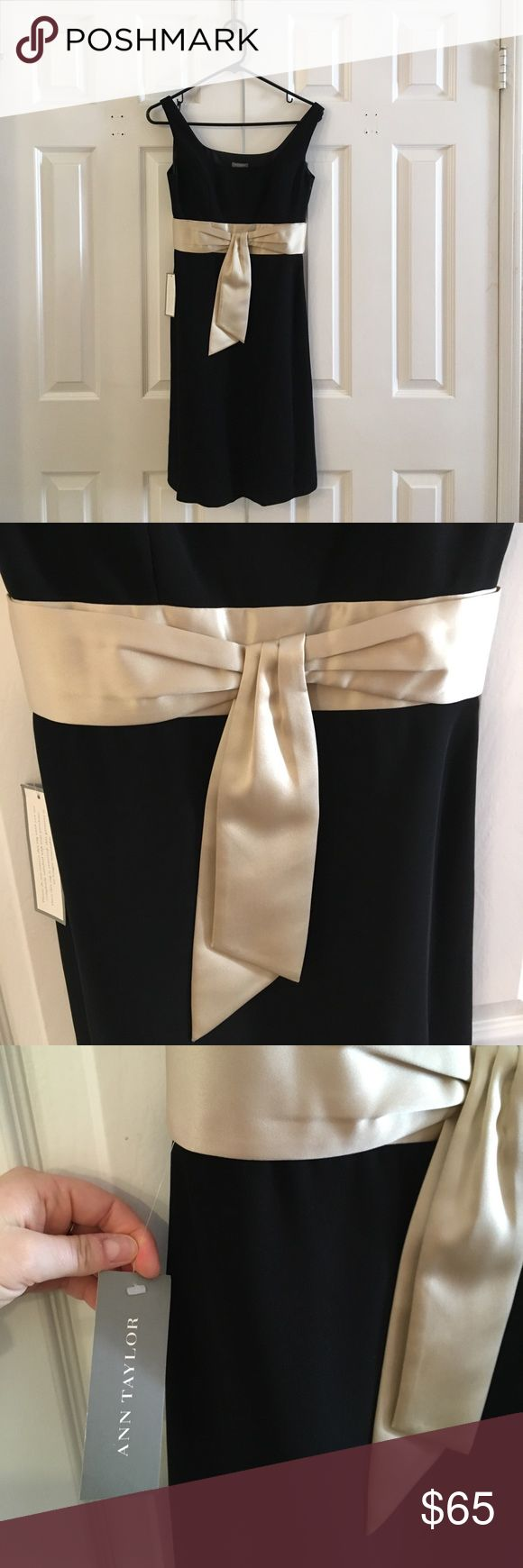 NEW Ann Taylor Petite black dress For a night out, date night, formal event. Size: petite 0. New tags still attached, never been worn. Beautiful accent in a cream wrap around below bust line Ann Taylor Dresses Midi