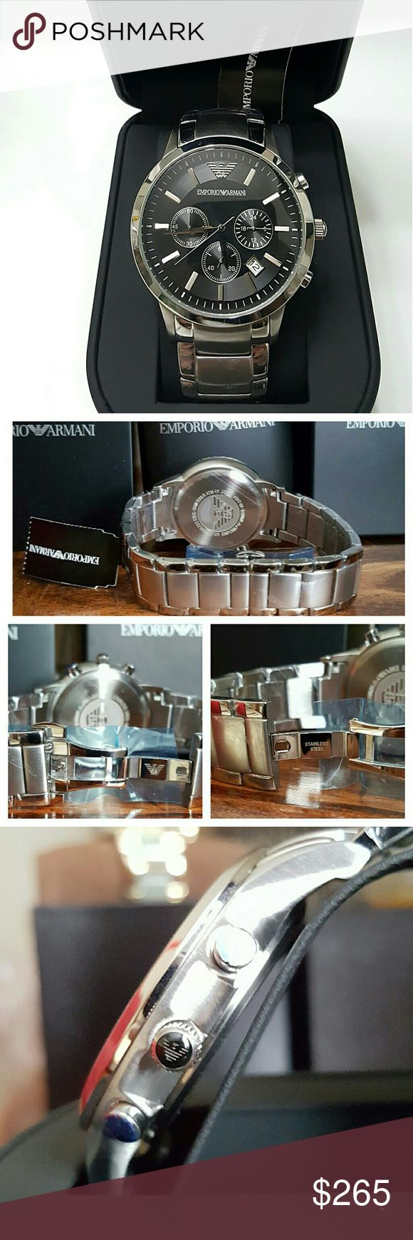 NWT Emporio Armani Chronograph Stainless watch NWT Emporio Armani Mens CHRONOGRAPH STAINLESS STEEL WATCH.    FIRM PRICE FIRM PRICE FIRM PRICE   $265.00 . AUTHENTIC WATCH  . AUTHENTIC BOX  . AUTHENTIC MANUAL     SHIPPING  PLEASE ALLOW FEW BUSINESS DAYS FOR ME TO SHIPPED IT OFF.I HAVE TO GET IT FROM MY WAREHOUSE.    THANK YOU FOR YOUR UNDERSTANDING emporio Armani  Accessories Watches