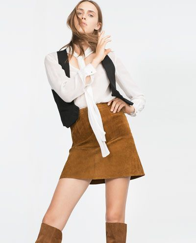 Image 4 of SUEDE EFFECT SKIRT. from Zara