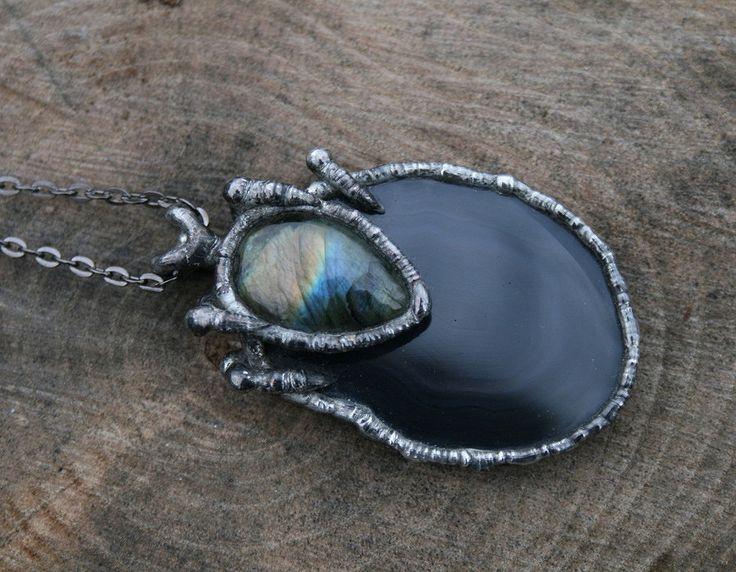 agate necklace, labradorite necklace, black necklace, huge pendant, handmade gift, christmas gift, rustic, post apocaliptic, goth necklace by Blacksmithworkshop on Etsy
