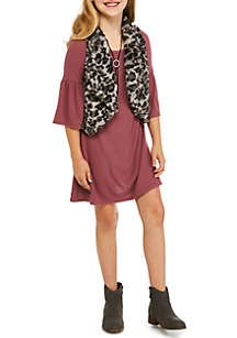 SEQUIN HEARTS girls Girls 7-16 Long Sleeve Dress and Printed Furry Vest
