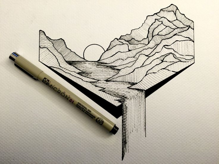 Cute Simple Line Art : Best outdoor line drawings images mountain