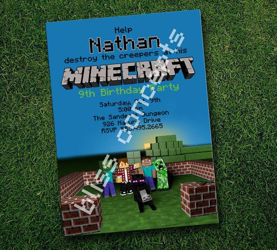 Minecraft Birthday Party Invitations by BlissPartyMarket on Etsy