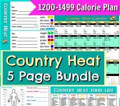 Country Heat Printables 5 Page Bundle Pack with Workout Schedule, 1200-1499 Calorie Plan and Results Tracker and more!