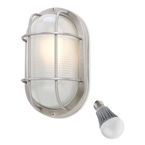 Design Classics Lighting Oval Bulkhead Marine Light with LED Bulb - 11-Inches Wide   39956 SS LED   Destination Lighting $65