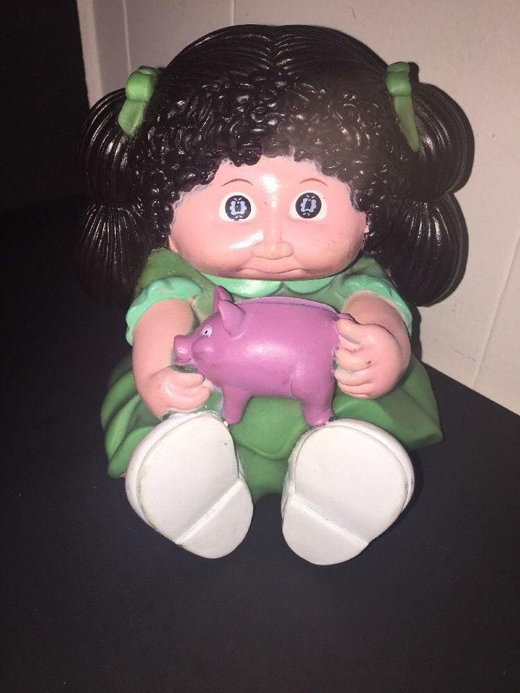 Cabbage patch kid piggy bank plastic doll star power black hair green purple pig  | eBay