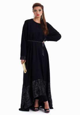 Flaunt a fresh new look with this fun and flirty Abaya from Surbhi Jaggi's Kiah collection. Features a high-low design with dramatic lace detailing along the hem. Trendy design with a chic feminine appeal make it a worthy addition to your collection!
