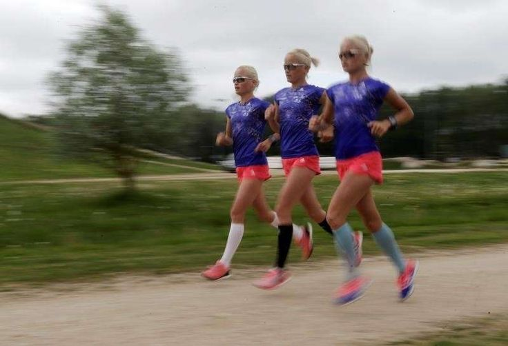 Athletics: Go sisters! Twins and triplets to run in Rio marathon  -  August 12, 2016  -       Estonia's olympic team female marathon runners Luik triplets run during a training session in Tartu, Estonia