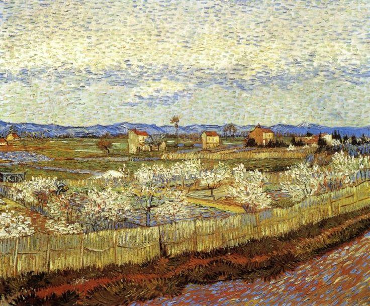 La Crau with Peach Trees in Bloom (1889) by Vincent Van Gogh