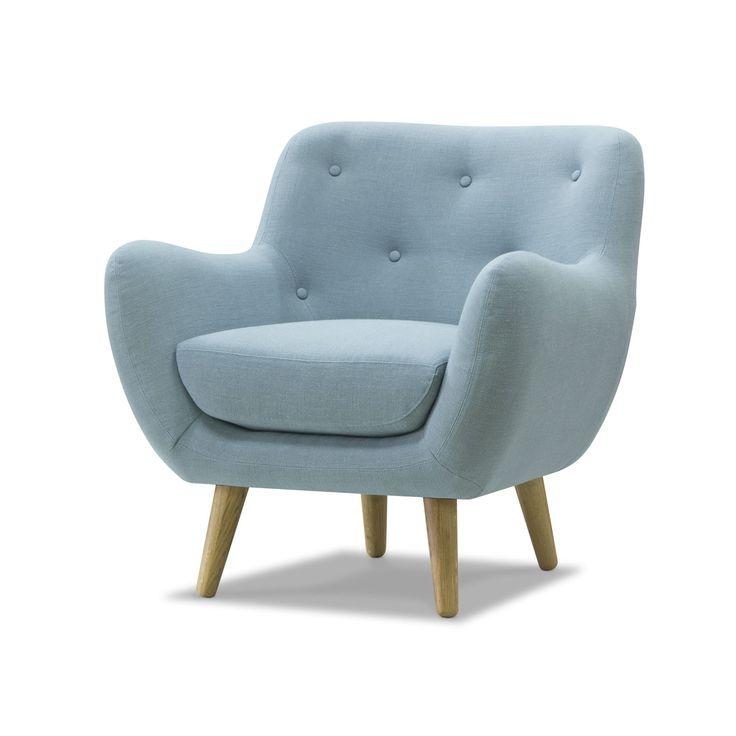 Fauteuil esprit seventies en tissu bleu ciel Bleu d'eau - Poppy Meuble - Les fauteuils - Fauteuils et poufs - Canapés et fauteuils - Décoration d'intérieur - Alinéa